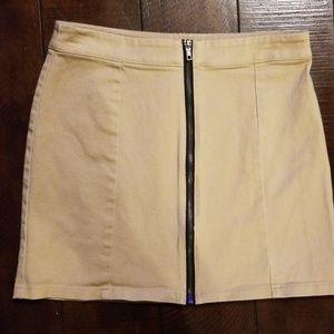 Forever 21 front zipper Khaki Denim skirt